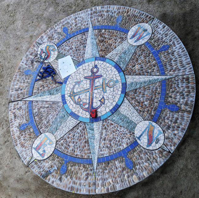 This is an 8' pre-cast slab mosaic